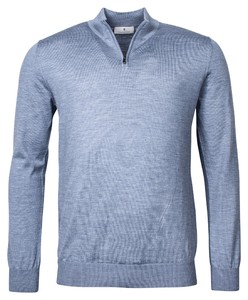 Thomas Maine Pullover Merino Zip Trui Licht Blauw