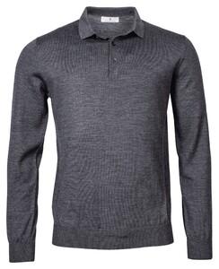 Thomas Maine Pullover Polo Collar Buttons Single Knit Merino Trui Anthra