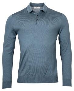 Thomas Maine Pullover Polo Collar Buttons Single Knit Merino Trui Grijsblauw