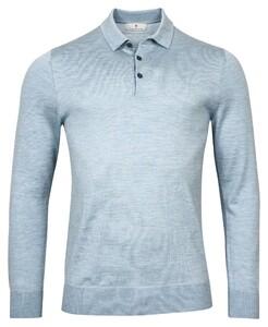 Thomas Maine Pullover Polo Collar Buttons Single Knit Merino Trui Licht Blauw