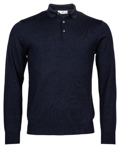 Thomas Maine Pullover Polo Collar Buttons Single Knit Merino Trui Navy