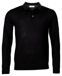 Thomas Maine Pullover Polo Collar Buttons Single Knit Merino Trui Zwart