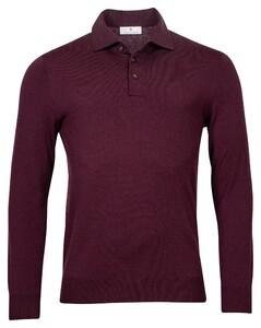 Thomas Maine Pullover Polo Collar Buttons Single Knit Trui Aubergine