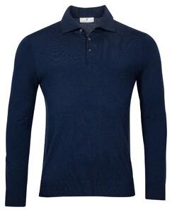 Thomas Maine Pullover Polo Collar Buttons Single Knit Trui Navy