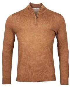 Thomas Maine Pullover Shirt Style Zip Merino Single Knit Trui Camel