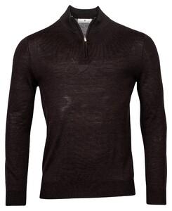 Thomas Maine Pullover Shirt Style Zip Merino Single Knit Trui Donker Bruin