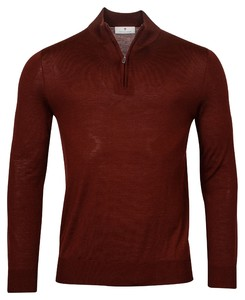 Thomas Maine Pullover Shirt Style Zip Merino Single Knit Trui Jasper