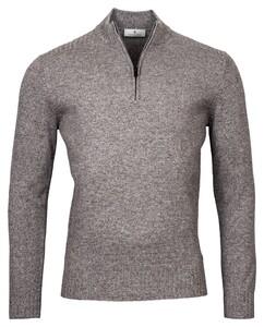 Thomas Maine Pullover Shirt Style Zip Rib Knit Trui Donker Grijs