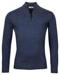 Thomas Maine Pullover Shirt Style Zip Rib Knit Trui Jeans Blauw