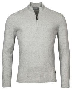Thomas Maine Pullover Shirt Style Zip Rib Knit Trui Licht Grijs