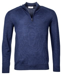 Thomas Maine Pullover Uni Zip Collar Trui Denim Blue