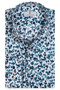 Thomas Maine Roma Modern Kent Abstract Floral Pattern by Liberty Shirt Mid Blue