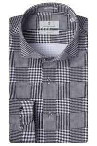 Thomas Maine Roma Modern Kent Fantasy Check Knitted 4Flex by Albini Overhemd Zwart