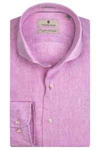 Thomas Maine Roma Modern Kent Linnen Délavé by Albini Overhemd Classic Pink