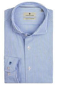 Thomas Maine Roma Modern Kent Seersucker Stripes Overhemd Licht Blauw