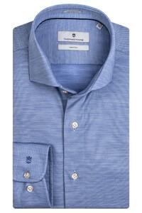 Thomas Maine Roma Modern Kent Wool Jersey by Reda Overhemd Licht Blauw