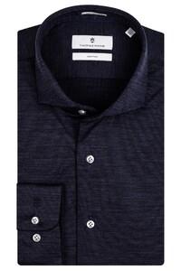 Thomas Maine Roma Modern Kent Wool Jersey by Reda Overhemd Navy