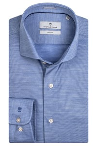 Thomas Maine Roma Modern Kent Wool Jersey by Reda Shirt Light Blue
