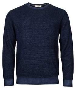 Thomas Maine Ronde Hals Allover Structure Knit Pullover Navy
