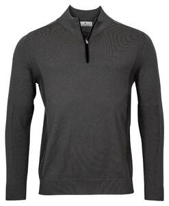 Thomas Maine Shirt Style Pullover Zip Single Knit Trui Donker Grijs