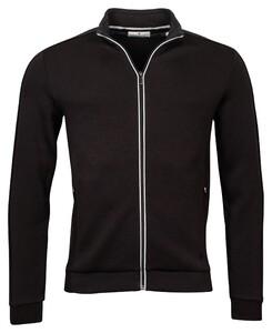 Thomas Maine Sweat Cardigan Zip Fine Contrast Vest Zwart