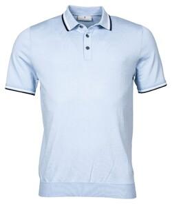Thomas Maine Uni Pima Cotton Subtle Stripe Contrast Polo Licht Blauw
