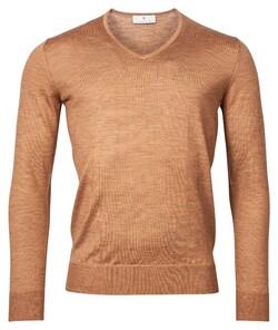 Thomas Maine V-Neck Merino Uni Color Pullover Camel