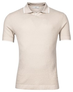 Thomas Maine V-Polo Collar Uni Merino Polo Beige