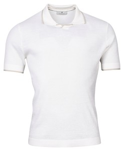Thomas Maine V-Polo Collar Uni Merino Polo Ecru