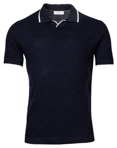 Thomas Maine V-Polo Collar Uni Merino Polo Navy