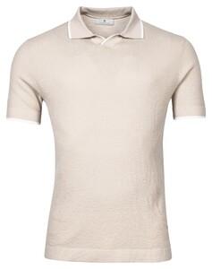 Thomas Maine V-Polo Collar Uni Merino Poloshirt Beige