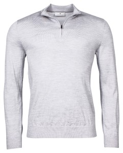 Thomas Maine Zip Single Knit Merino Trui Licht Grijs Melange