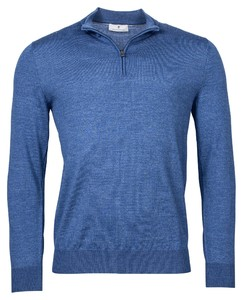 Thomas Maine Zip Single Knit Merino Trui Midden Blauw