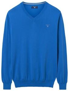 Gant Summer Cotton V-Neck Midden Blauw