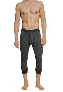 Schiesser Feinripp Melange Long Johns 3/4 Anthracite Grey