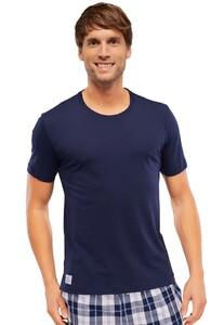 Schiesser Mix & Relax T-Shirt Ronde Hals Donker Blauw