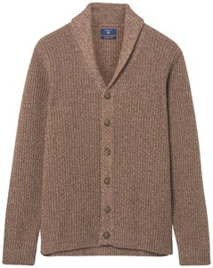 Gant Chunky Shawl Cardigan Brown Melange