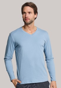 Schiesser Mix & Relax Cotton T-Shirt V-Hals Licht Blue Melange