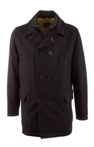 Pierre Cardin Double Row Wool Long Jacket Navy