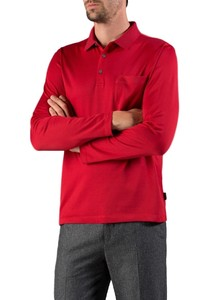 Maerz Cotton Long Sleeve Polo Just Red