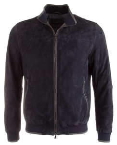 Paul & Shark Luxury Lamb Leather Jacket Navy