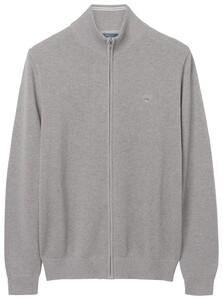 Gant Cotton Pique Zipper Vest Grijs Melange