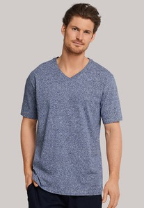 Schiesser Mix & Relax T-Shirt V-Hals Donker Blauw Melange