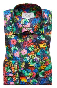 Eton Beach Flower Shirt Navy