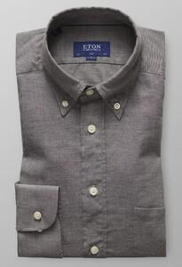 Eton Slim Flanel Overhemd Donker Grijs Melange