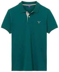 Gant Contrast Collar Pique June Bug Green