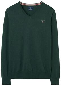 Gant Cotton Wool V-Neck Tartan Green Melange