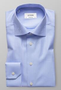 Eton Herringbone Signature Twill Licht Blauw