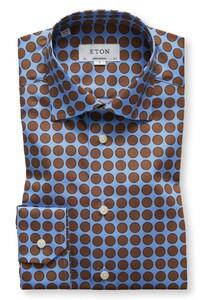 Eton Dotted Signature Twill Pastel Blauw