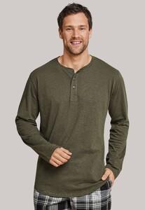 Schiesser Mix & Relax Button T-Shirt Donker Groen